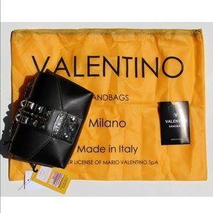 Mario Valentino Black Paulette Studded Crossbody